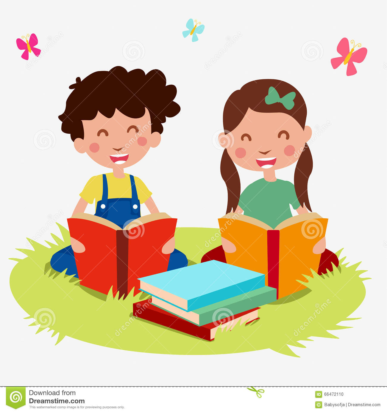 Set Kids Cartoon Read Book Stock Vector Image 66472110