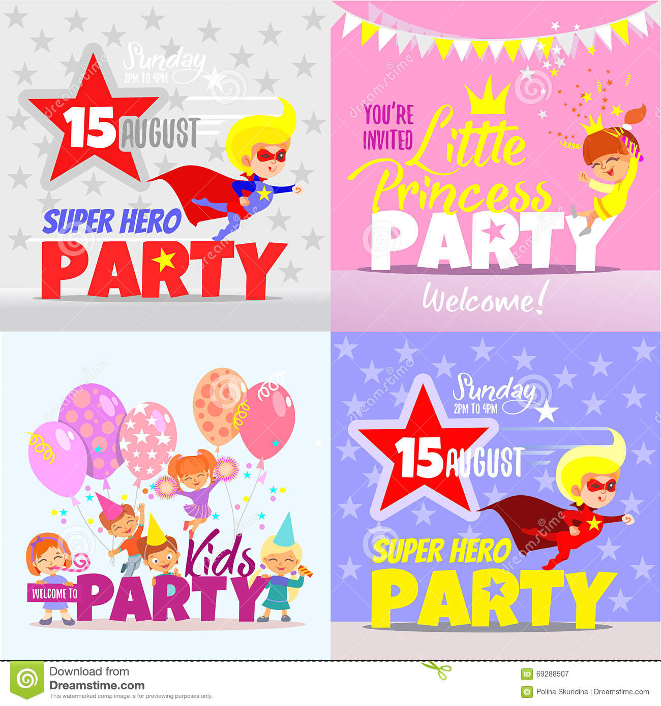 set with kids party invitation design concepts stock vector