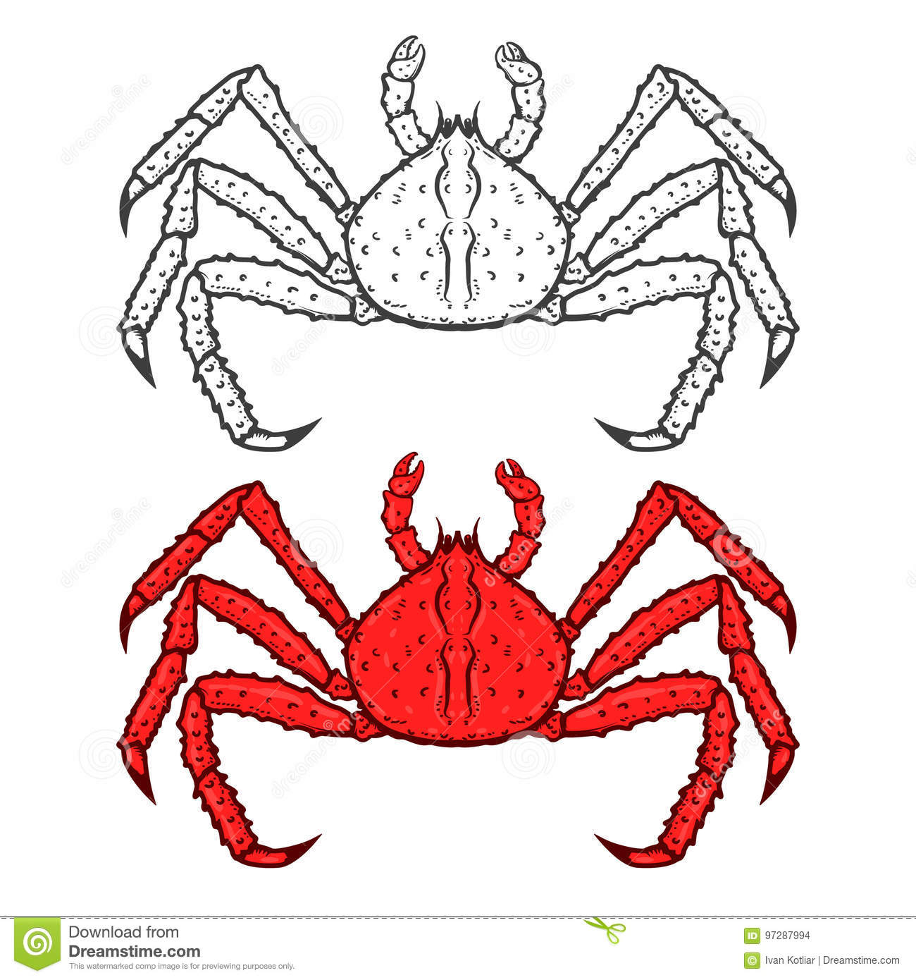 Vector Sea Food Label With Fork And Knife: King Crab Icon In Black Style Isolated On White Background