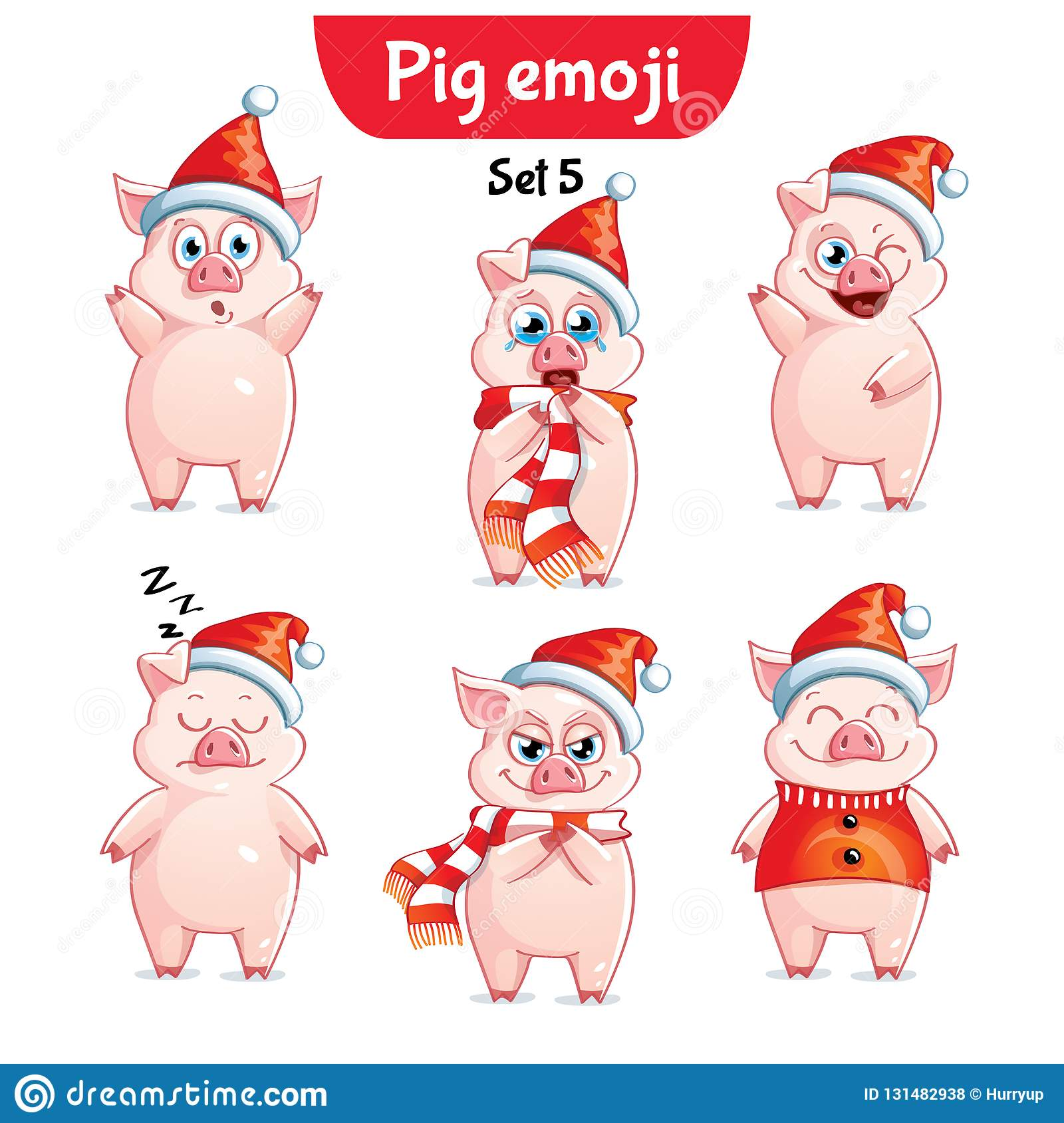 vector set of christmas pig characters set 5 stock vector