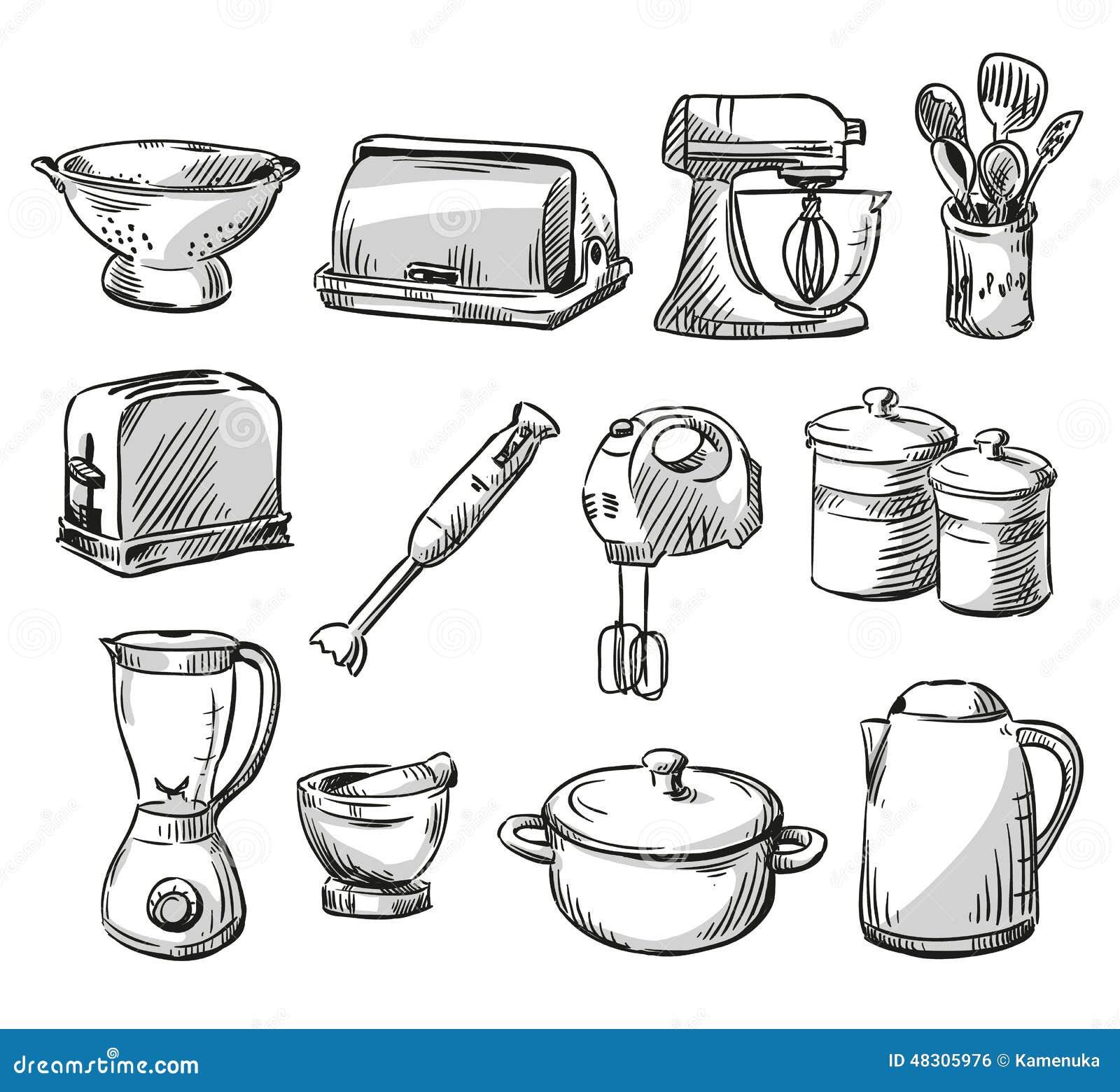 Dream Kitchen Design Drawing: Set Of Kitchen Appliance. Household Utensils Stock Vector