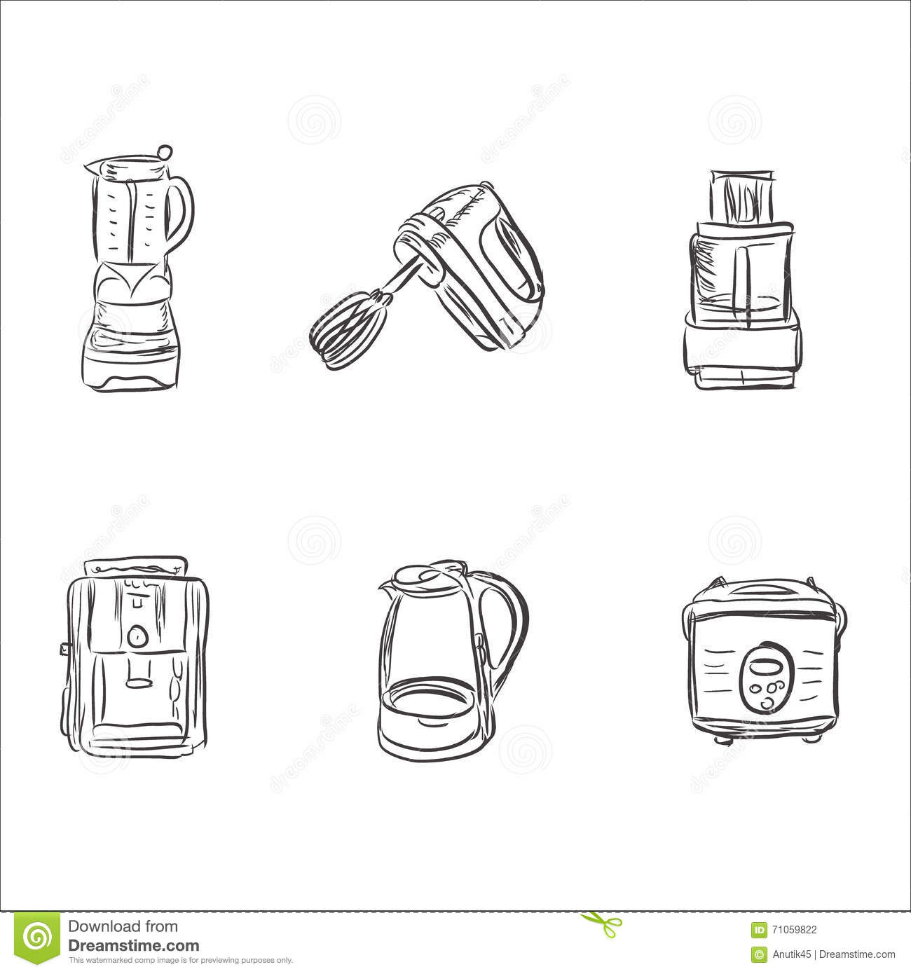 Set Of Kitchen Appliances In Sketch Style, Design Elements