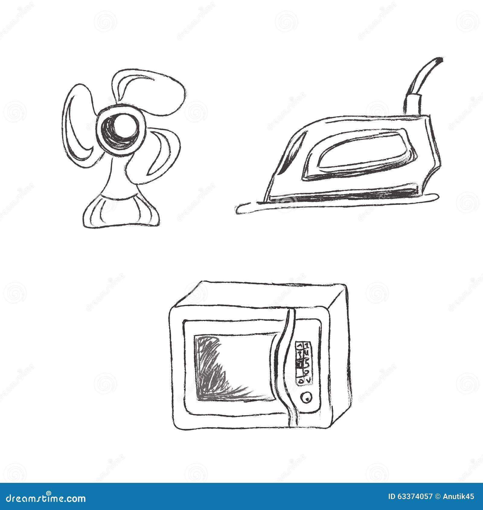 Kitchen Appliance Drawings ~ Set kitchen appliances sketch vector illustration