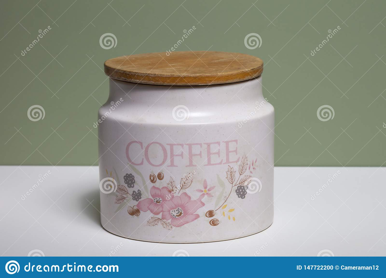 A Set Of Kitchen Containers For Sugar, Coffee And Tea Stock ...