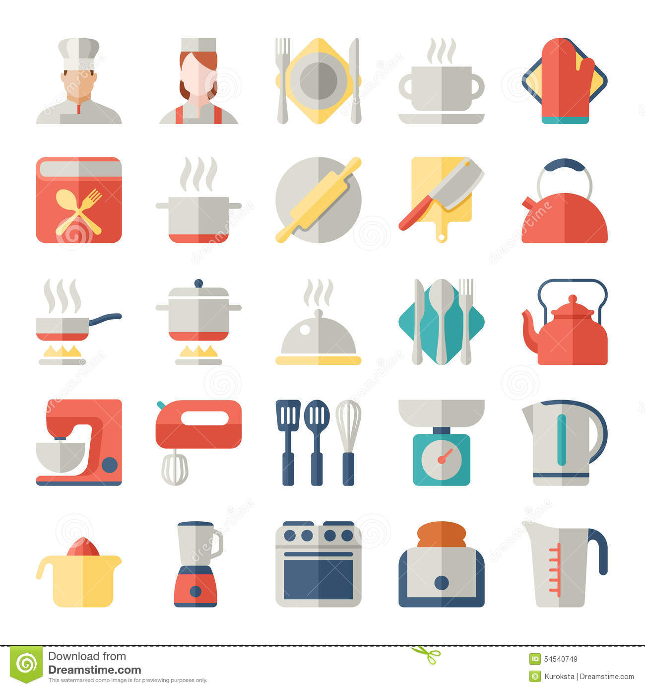 Set Of Kitchen Icons In Flat Design Stock Vector