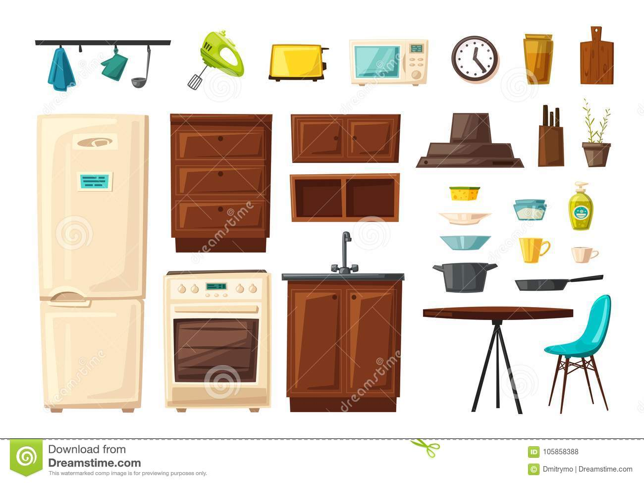 Set Of Kitchen Interior With Furniture And Tools. Cartoon