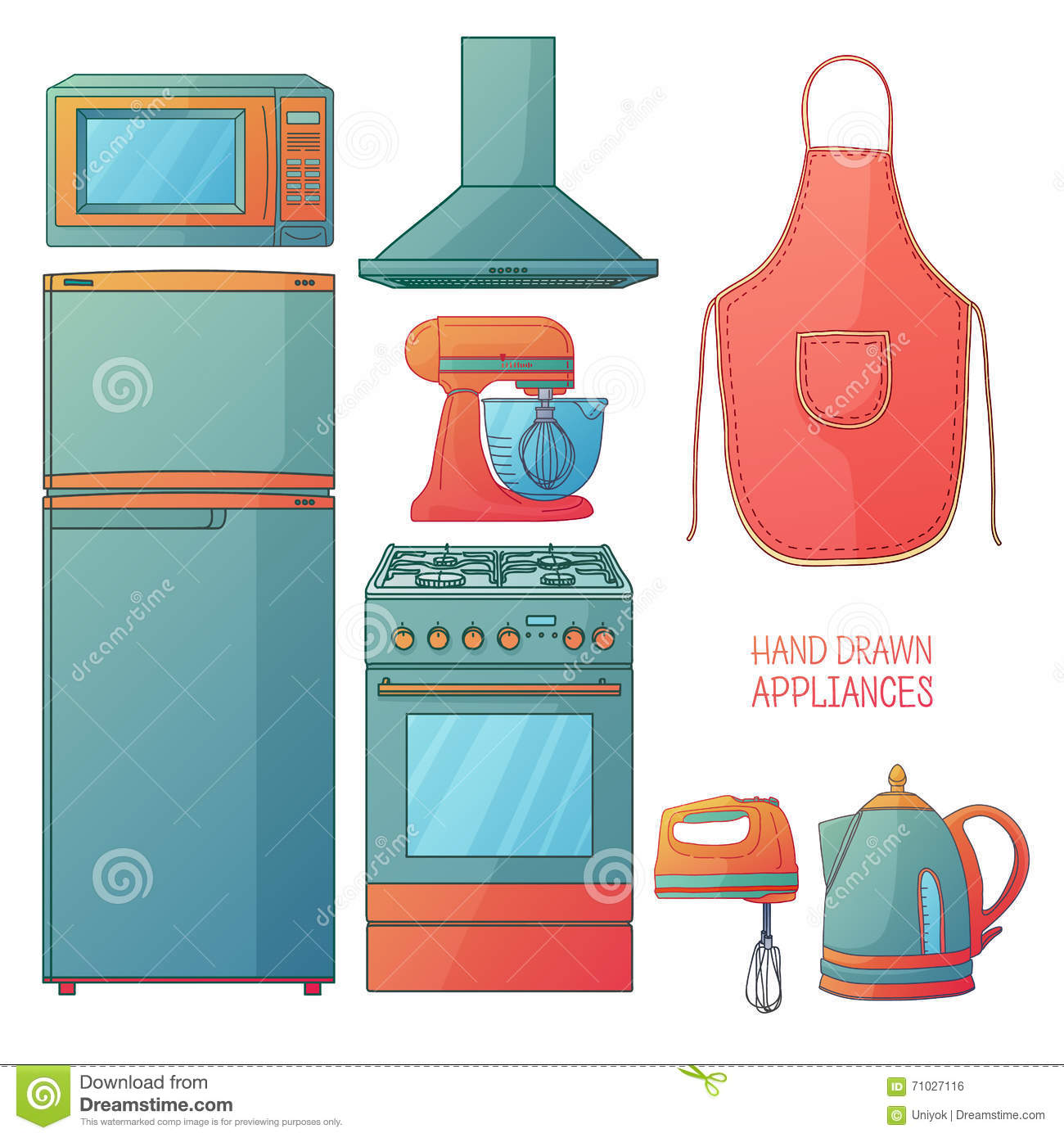 Cartoon Kitchen Furniture: Set Of Kitchen Tools. Kitchen Household Furniture In A