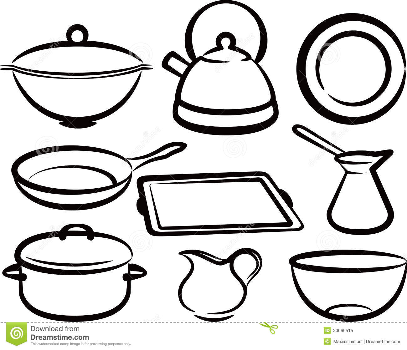 Set of kitchen utensil stock vector illustration of for Utensilios de cocina para dibujar