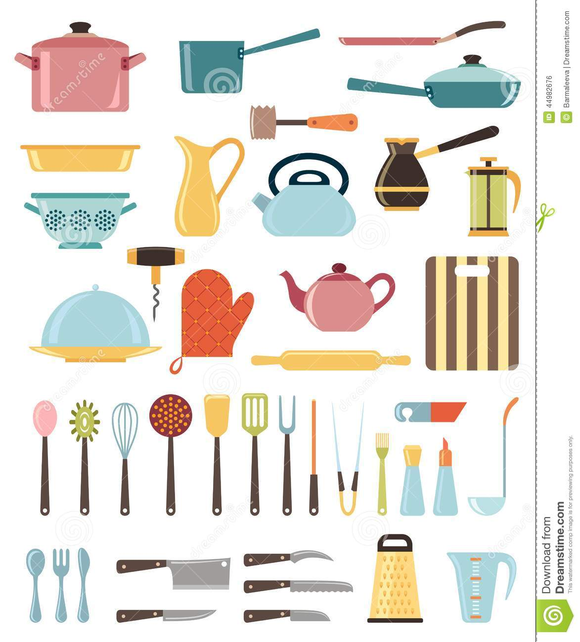 Kitchen Equipment Cartoon ~ Set of kitchen utensil and collection cookware stock