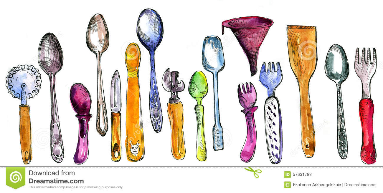 Set of kitchen utensil stock illustration image 57631788 for Kitchen set drawing