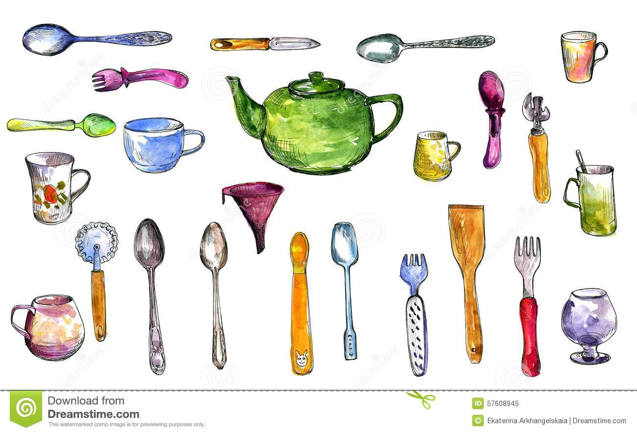 Set of kitchen utensil stock illustration image 57608945 for Kitchen set drawing