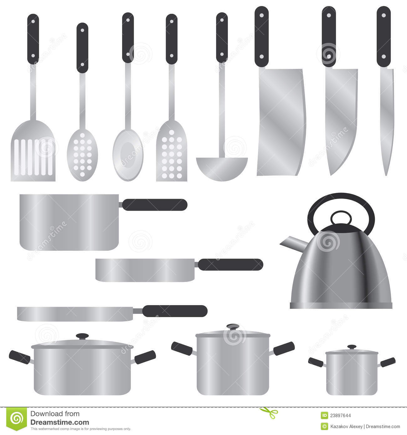 Black silhouette kitchen utensils set vector illustration for Set de utensilios de cocina facusa