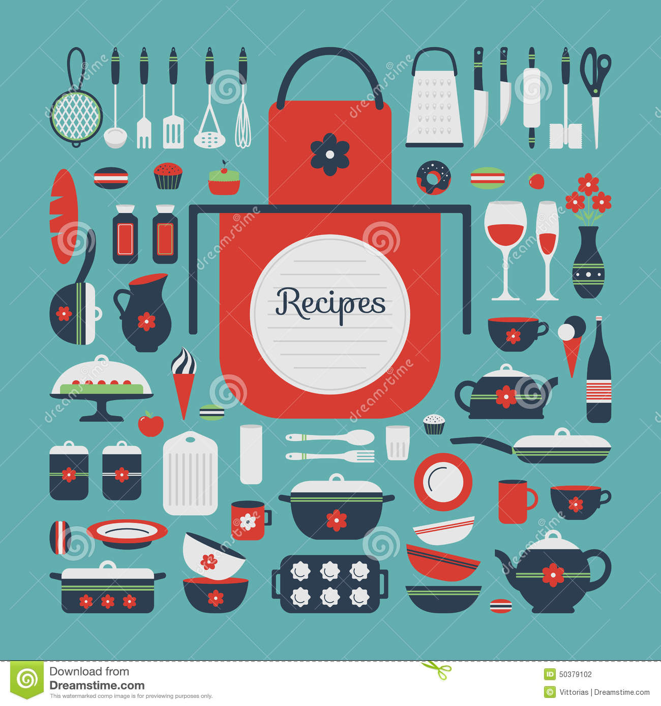 Set Of Kitchen Utensils And Food. Stock Vector - Illustration of ...