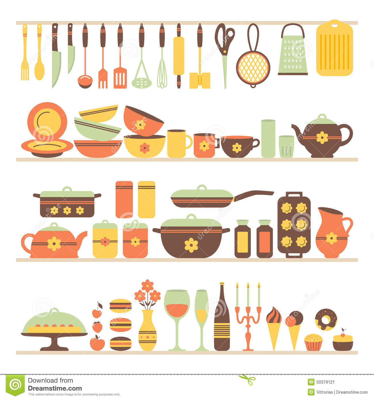 Sketches Of Modern Kitchen Utensils : Set of kitchen utensils and food, objects on shelves. Cookware, home ...