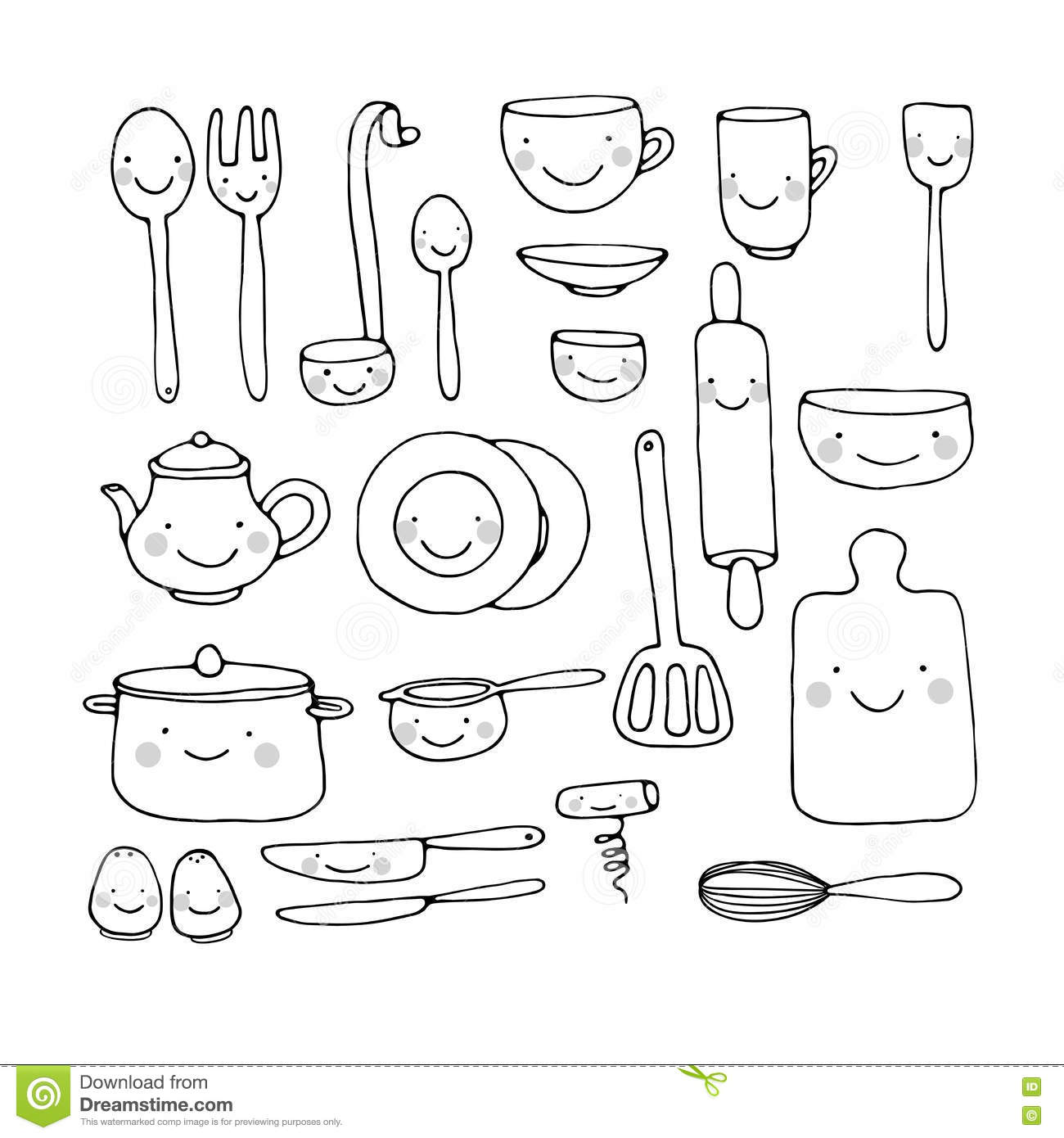 Kitchen Tools Drawings Beautiful Kitchen Tools Drawings With Decor