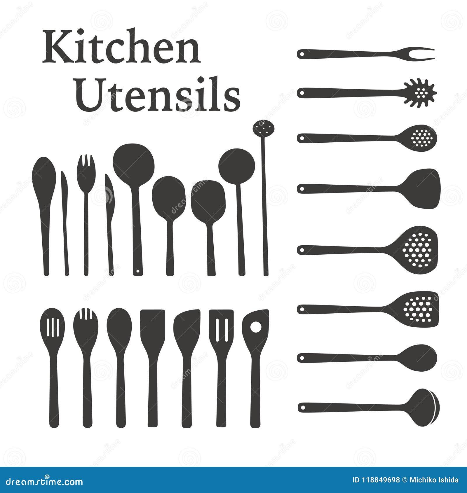Dream Kitchen Utensils: Kitchen Utensils Silhouette Stock Illustrations