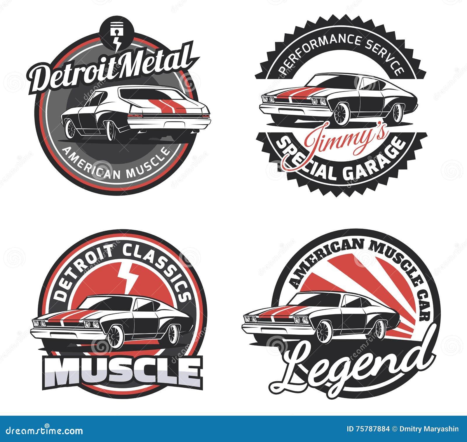 Set klasycznego mięśnia samochodowi round emblematy, odznaki i znaki,