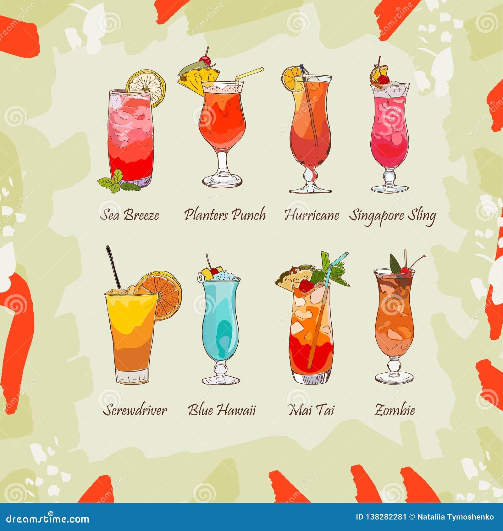 Set klasyczni tropikalni koktajle na abstrakcjonistycznym tle Świeży prętowy alkoholicznych napojów menu Wektorowa nakreślenie il