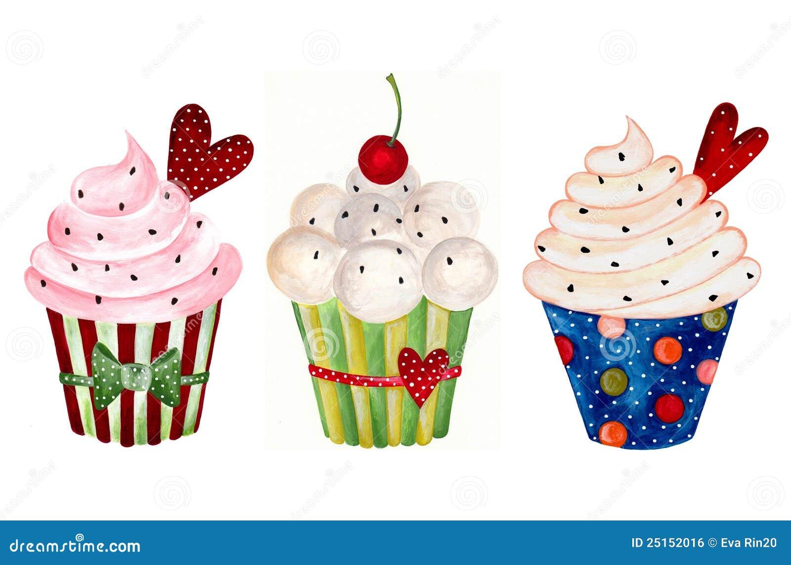 Set Kleine Kuchen. Aquarelle Auf Papier Lizenzfreies Stockbild - Bild: 25152016
