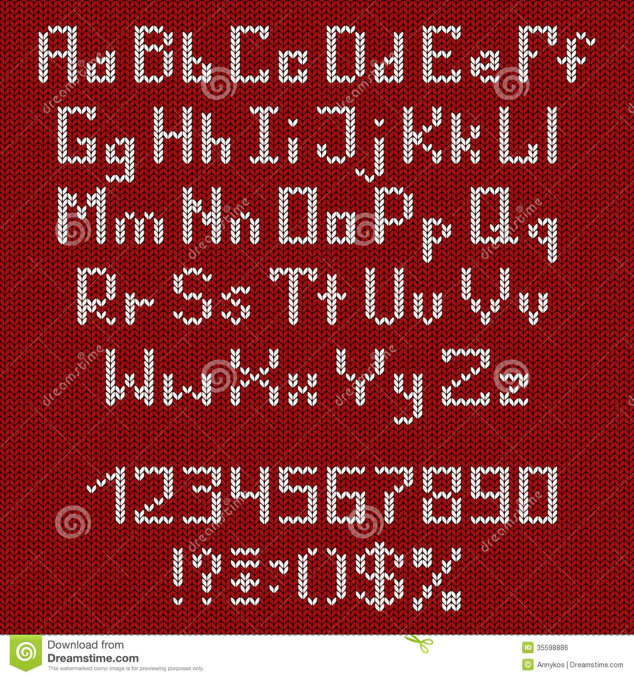 Set Of Knitted Alphabet And Numbers Stock Vector - Illustration of ...