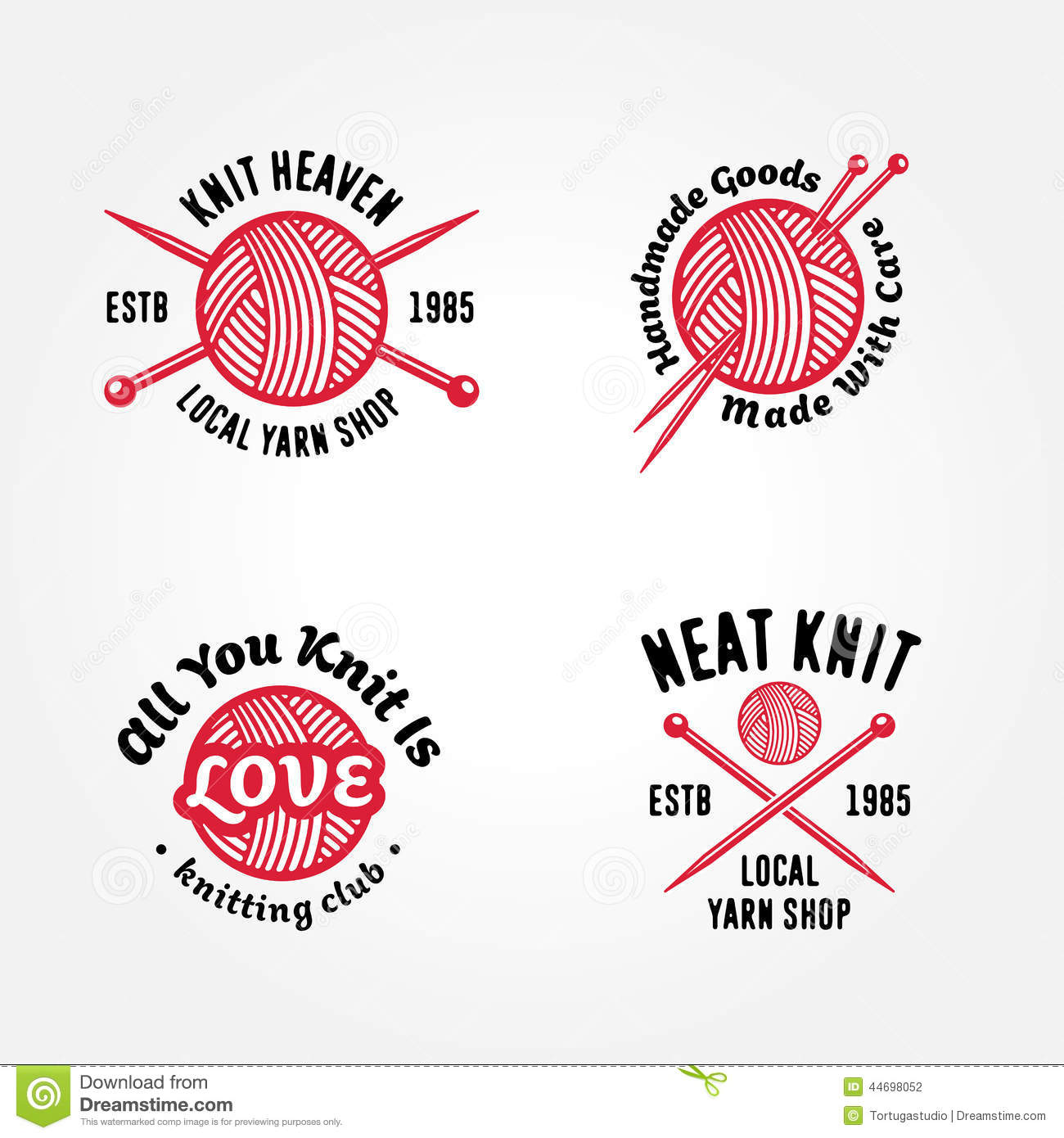 Set of knitting badges stock vector. Image of isolated ...