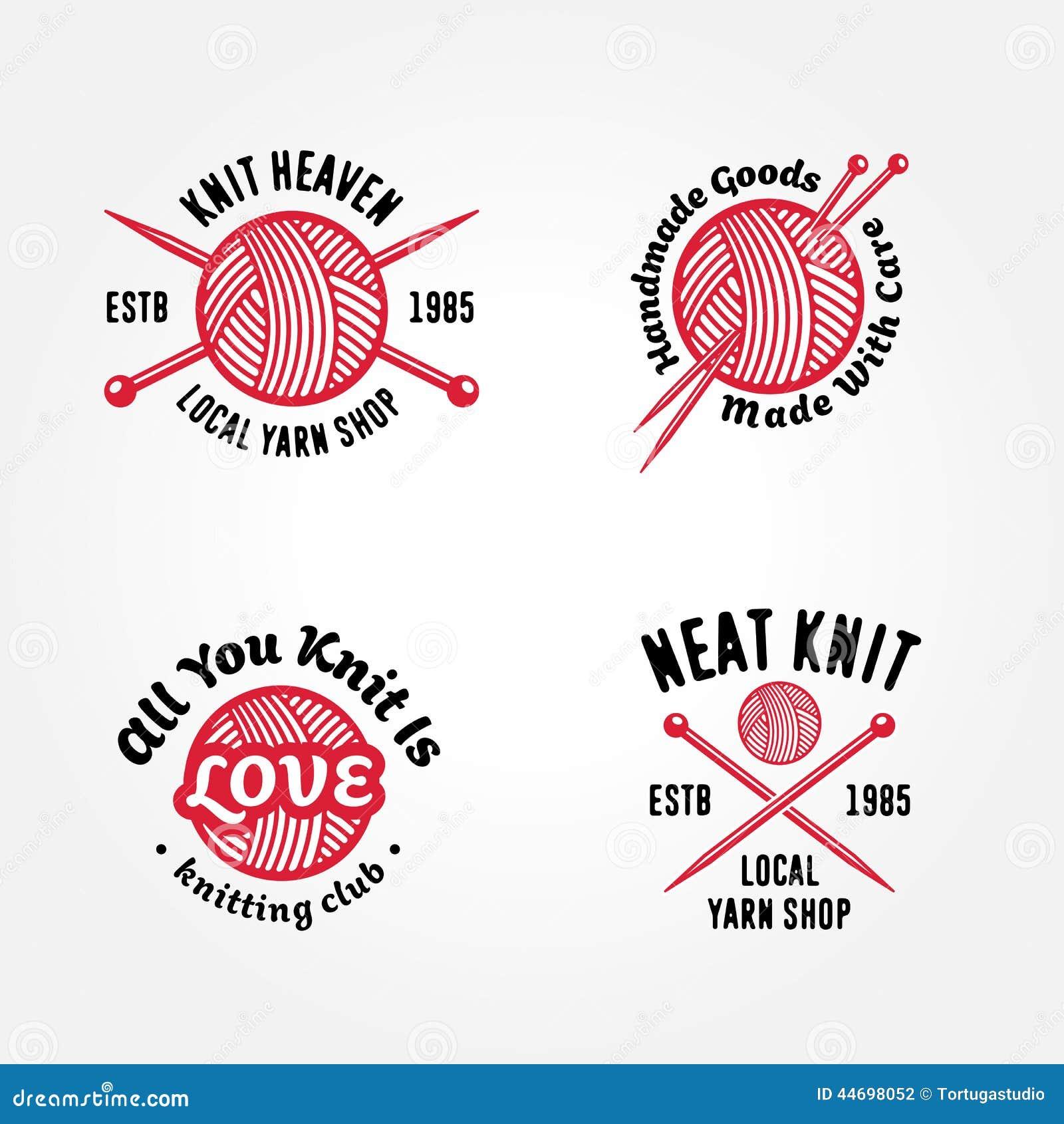Knitting Club Logo : Set of knitting badges stock vector image
