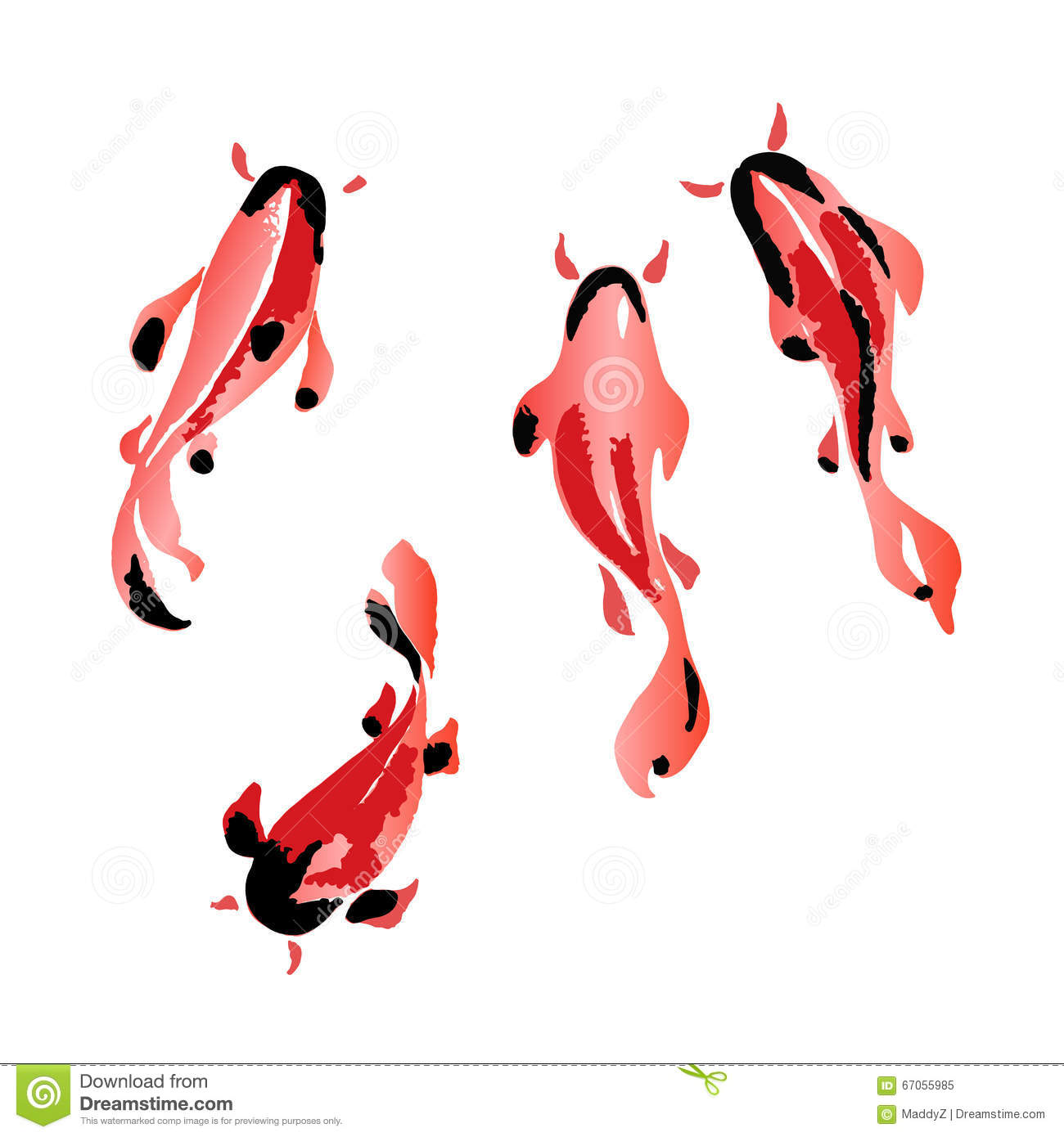 Set Of Koi Fish Illustration Stock Vector - Illustration of goldfish ...