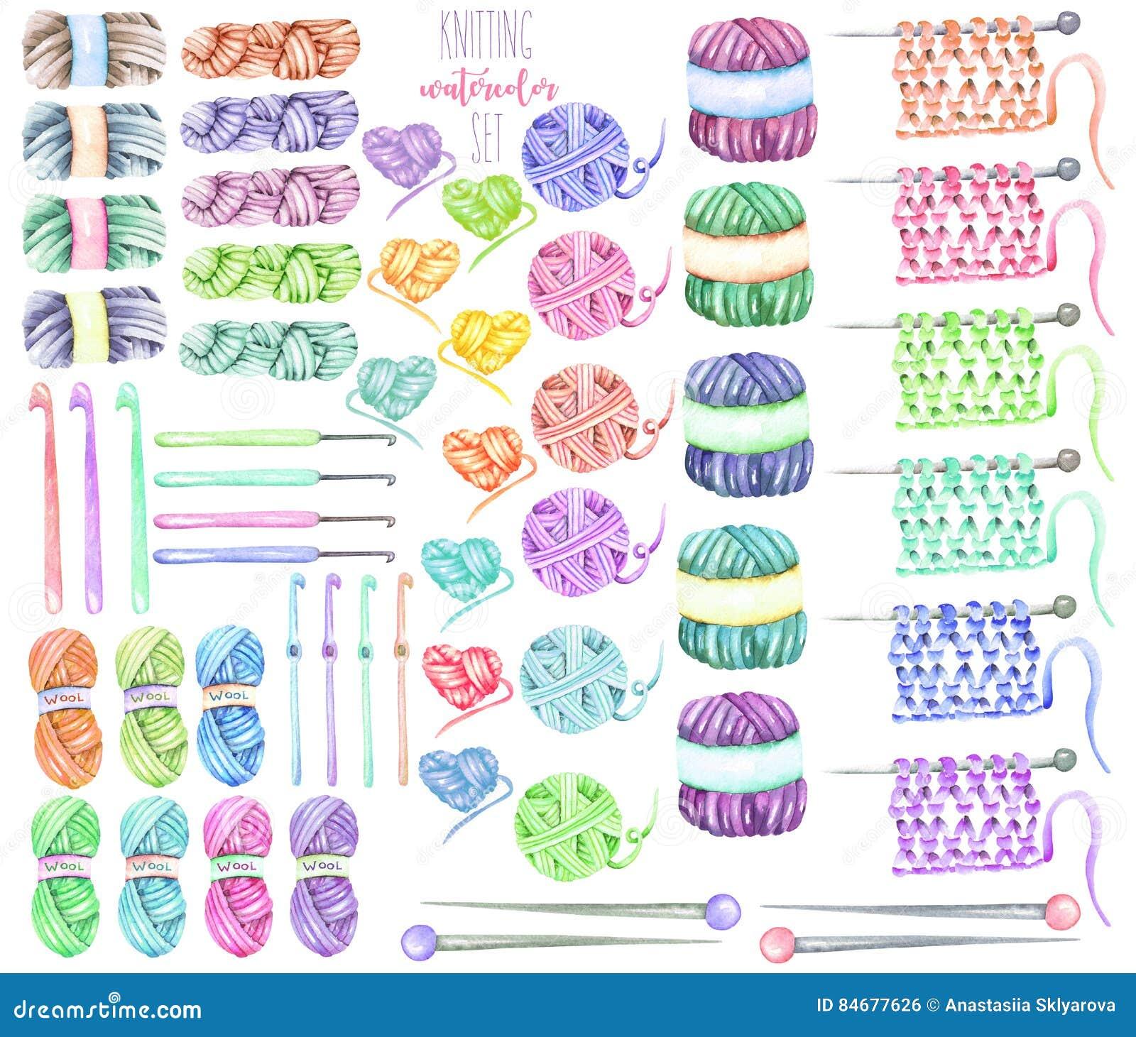 Set, kolekcja z akwarela dziewiarskimi elementami: przędza, dziewiarskie igły i szydełkowi haczyki,