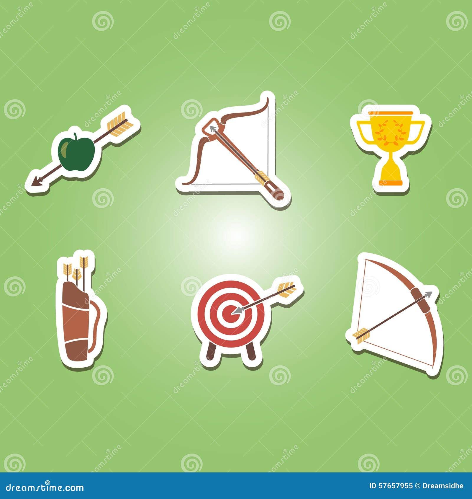 Set kolor ikony z łucznictwem