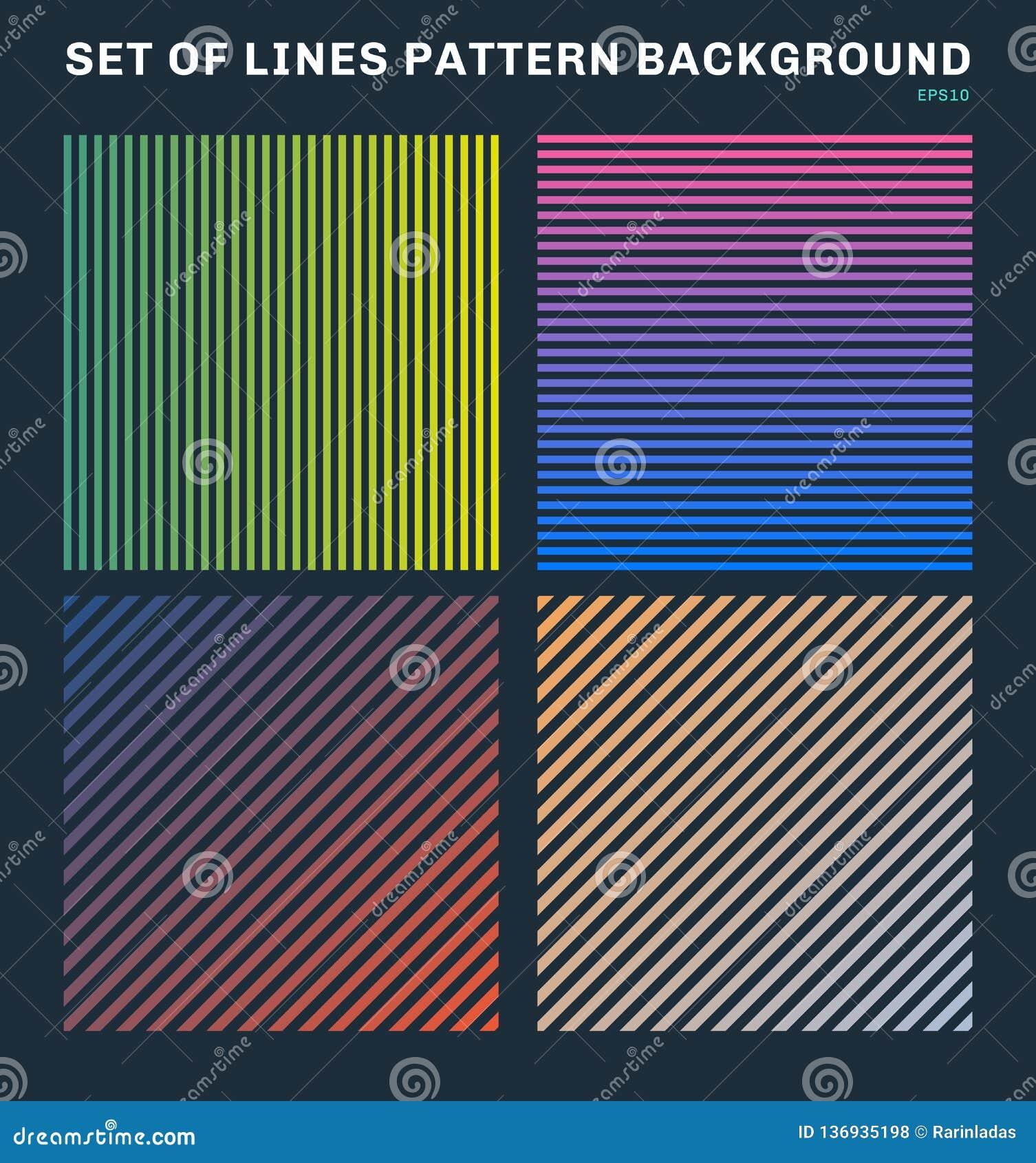 Set kolorowe linie deseniuje tło i teksturę