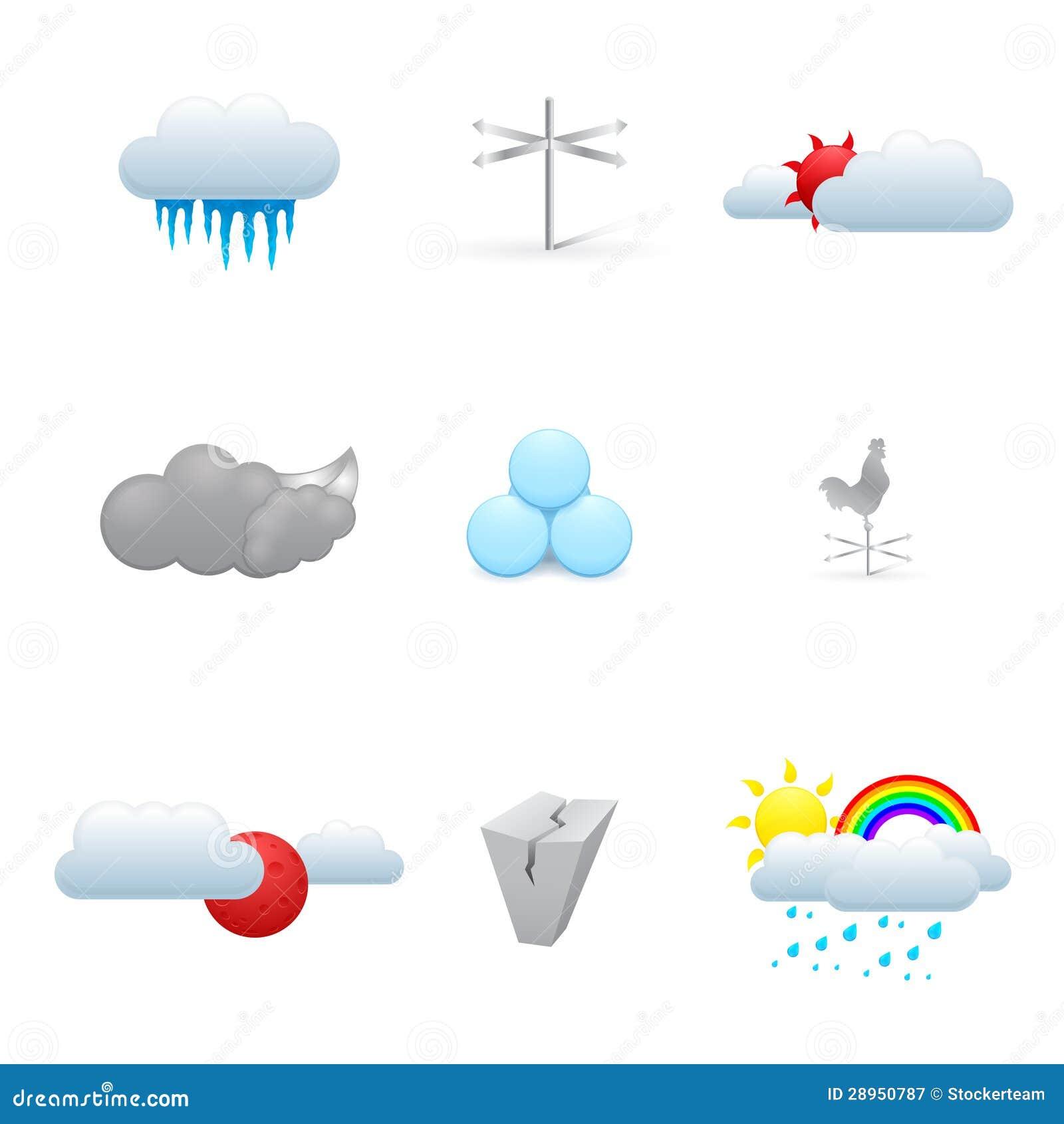 Set kolorowe pogodowe ikony
