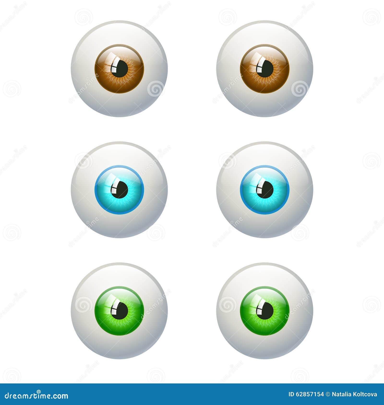 Set kolorowi oczy Brown, błękit, zielony oko