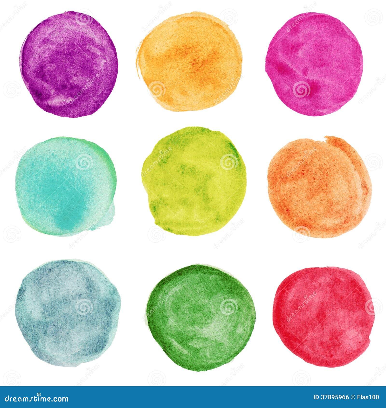 Set kolorowy akwarela okrąg. Projektów elemnts