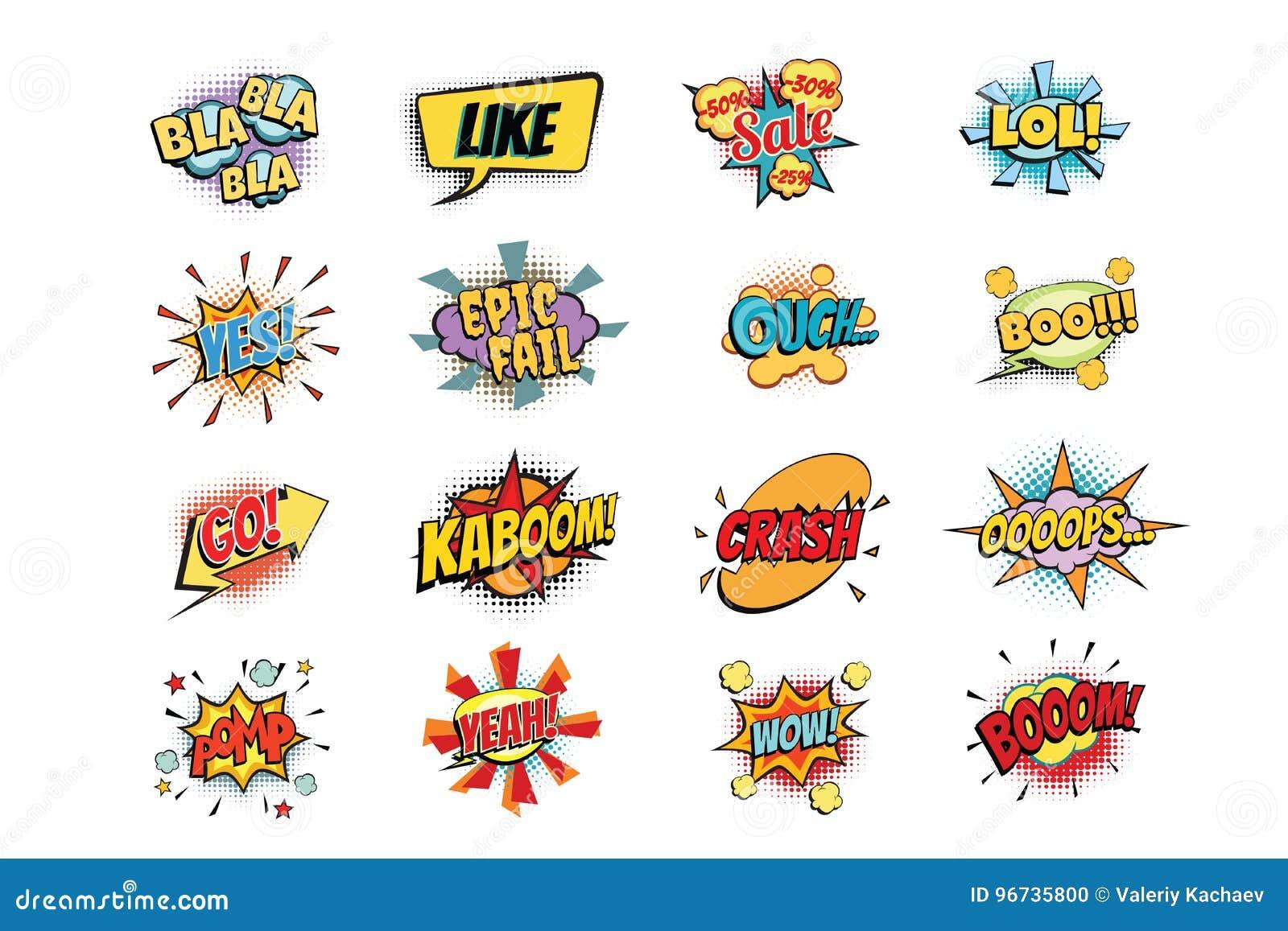 Set kolorowy komiczny mowa bąbli kształt