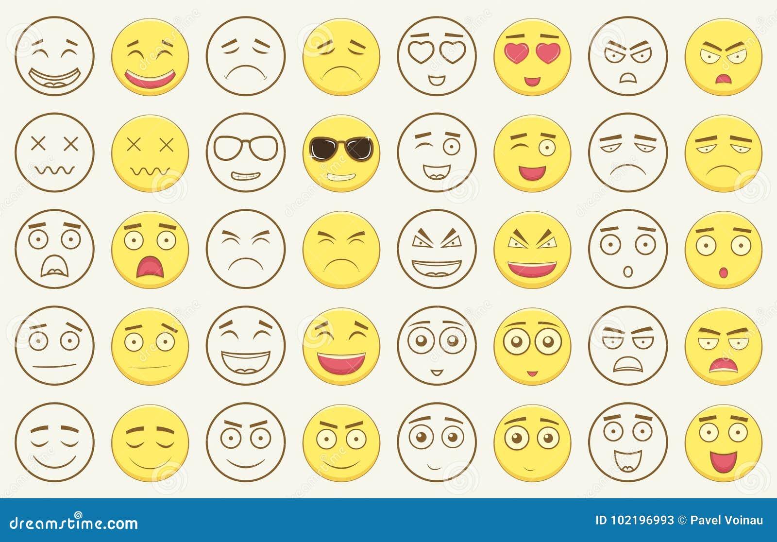 Set kontur i kolorowi emoticons, emoji odizolowywający na białym tle Emoticon dla strony internetowej, gadka, sms wektor