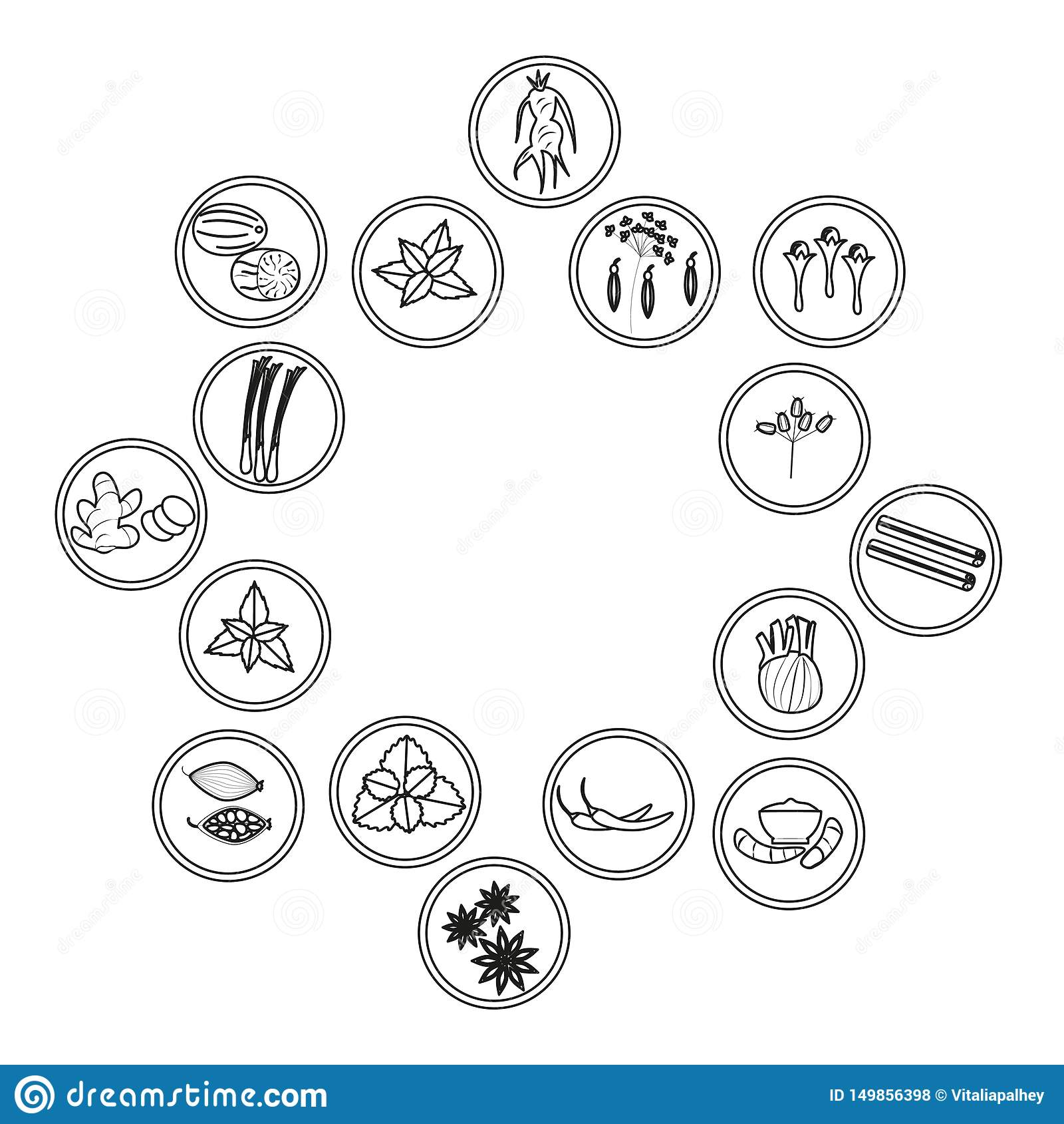 Set kontur ikony ziele i pikantność cynamon, gwiazdowy anyż i kardamon,