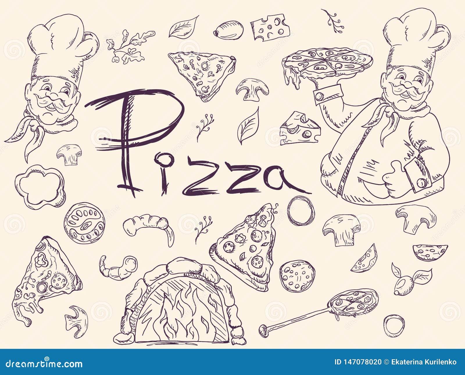 Set konturowe ilustracje na temacie Włoska pizzy kuchnia, dekoracja dato che projekt w stylu Doodle,