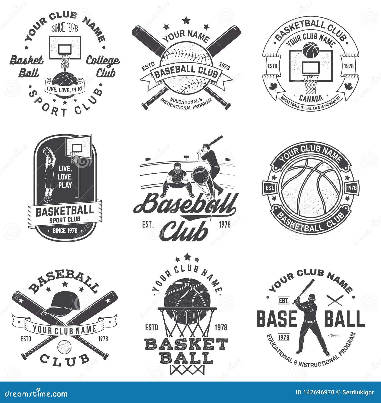 Set koszyk?wki i baseballa odznaka, emblemat wektor Poj?cie dla koszula, druku, znaczka, odzie?y lub tr?jnika, Rocznika projekt
