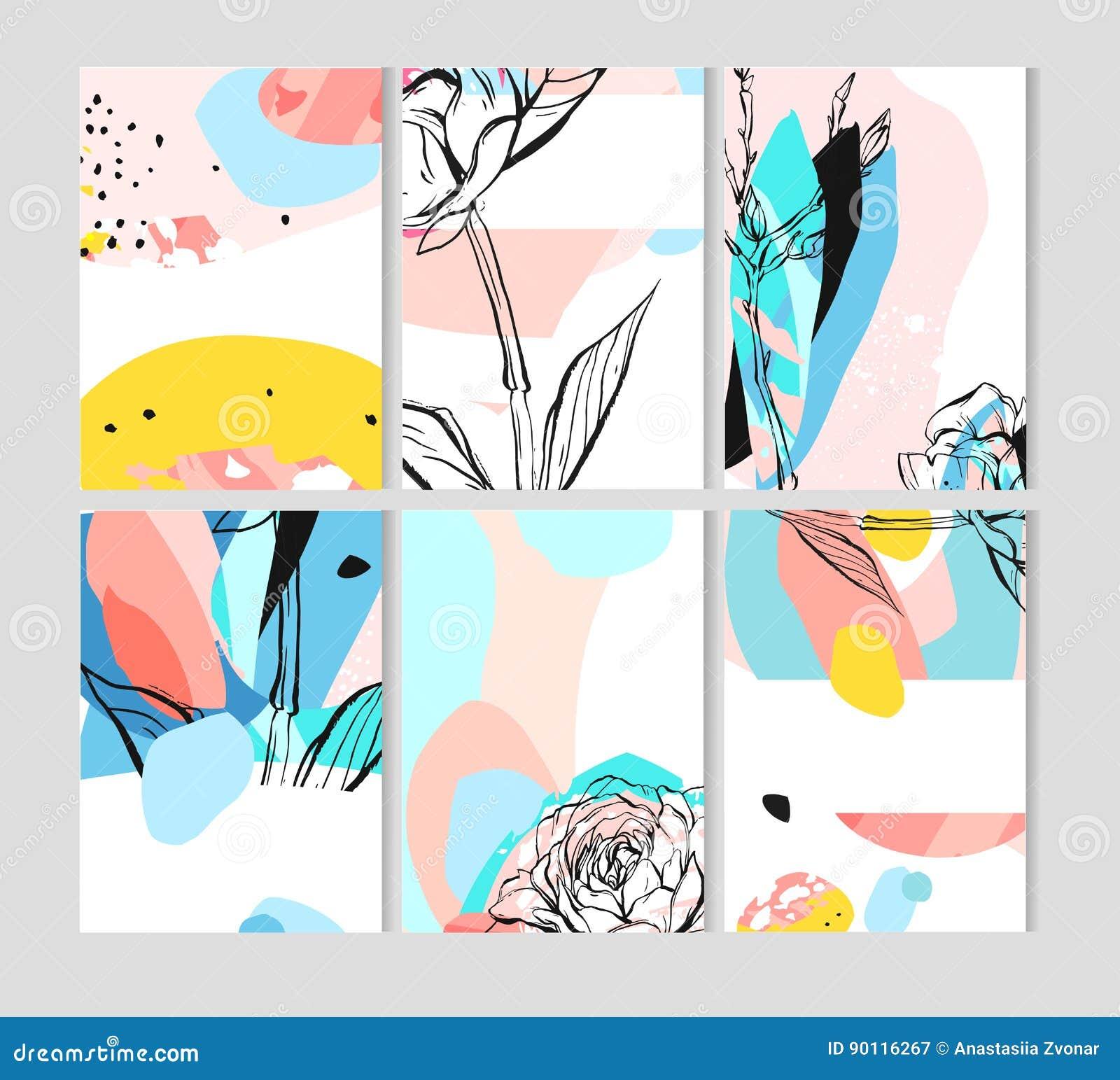 Set kreatywnie ogólnoludzkie kwieciste karty z miejscem dla twój teksta Sztuka plakaty Ręki Rysować tekstury Poślubiać, rocznica