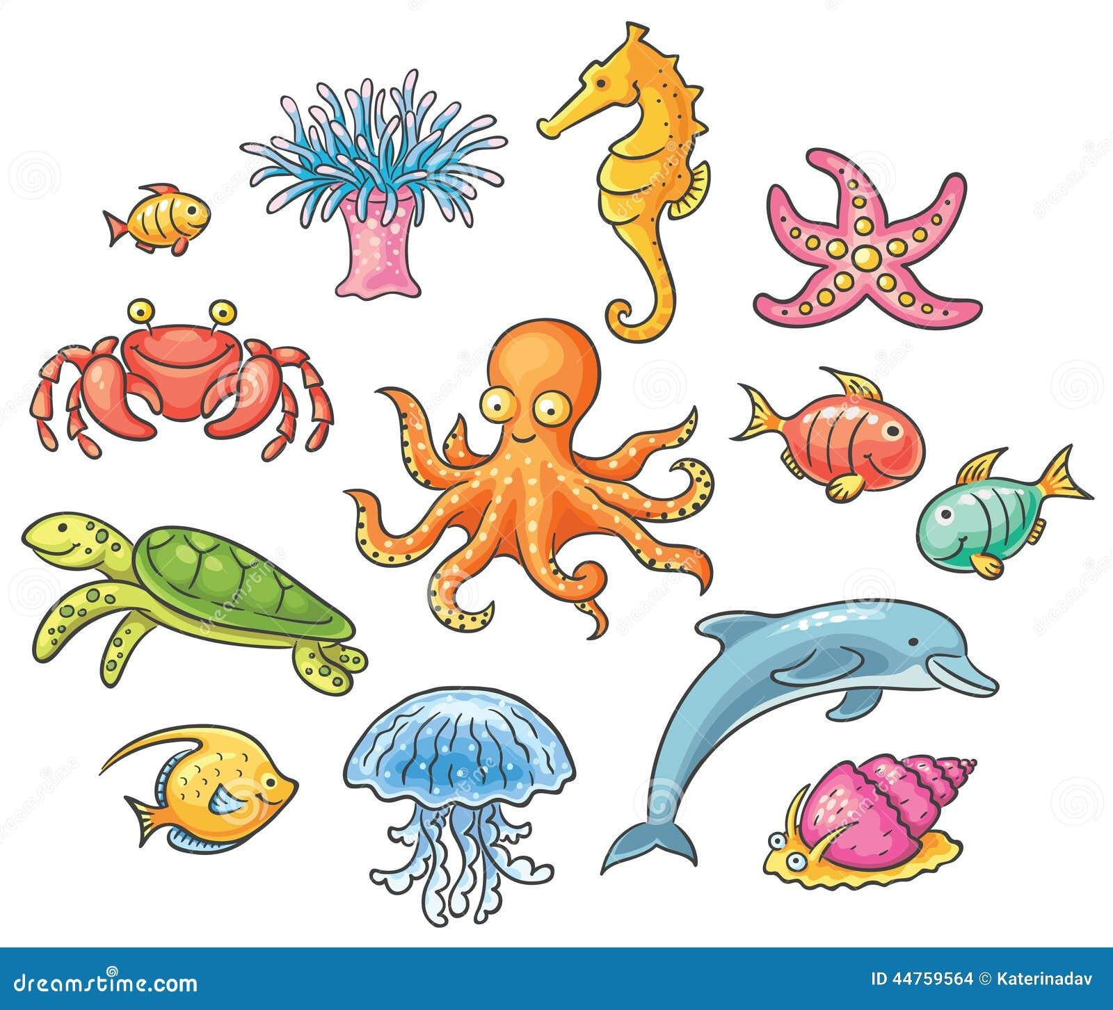 Set kreskówek denni zwierzęta