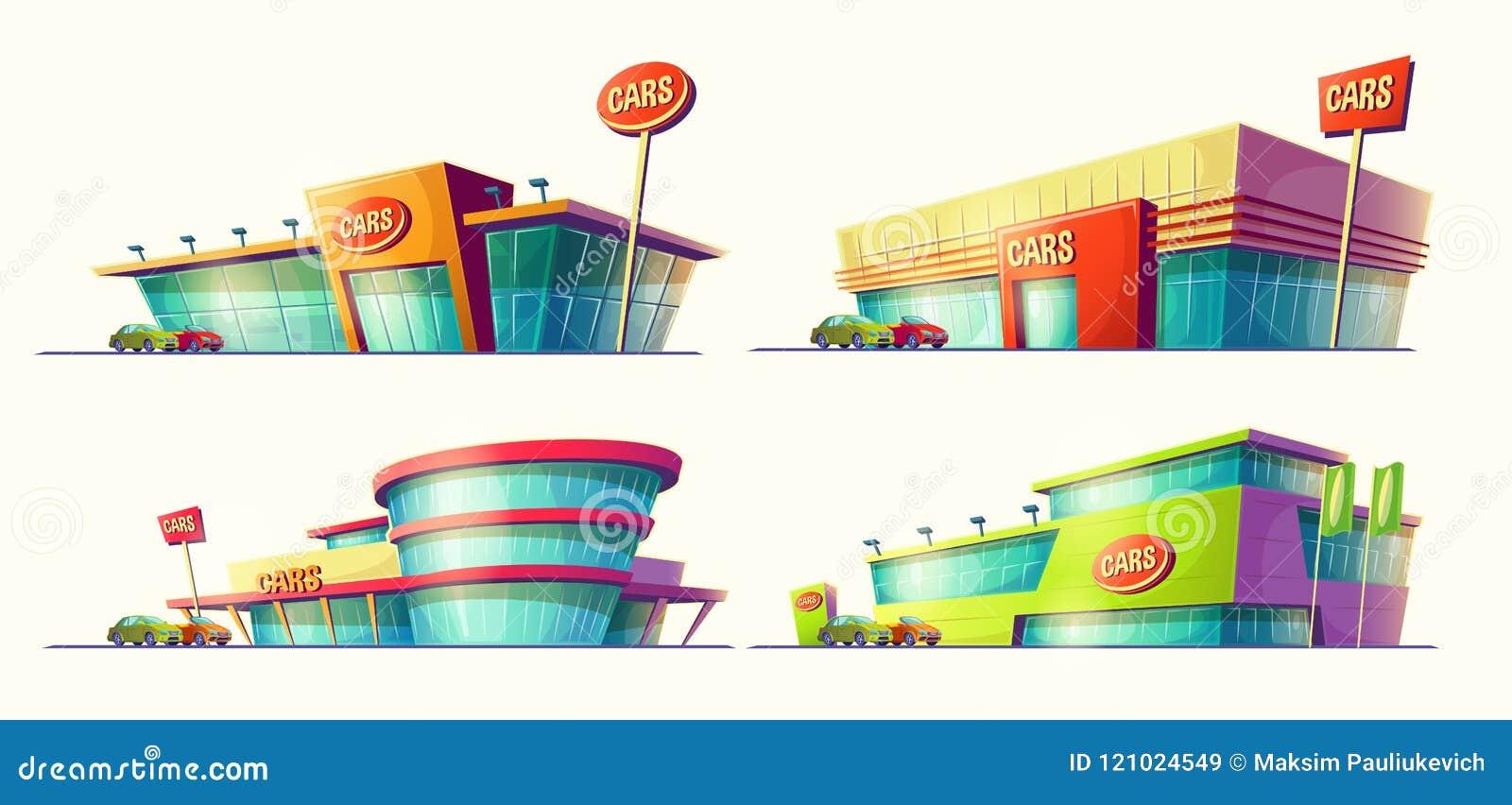 Set kreskówek ilustracje, różnorodni budynki, samochodowi sprzedaży centra, samochodowy wynajem