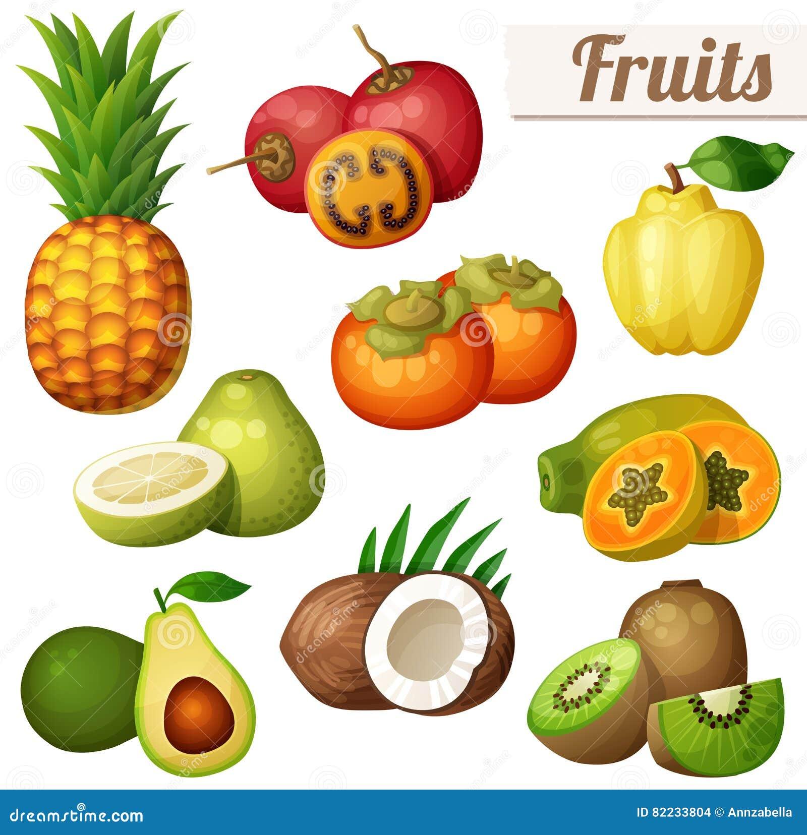 Set kreskówek karmowe ikony odizolowywać na białym tle egzotyczne owoce