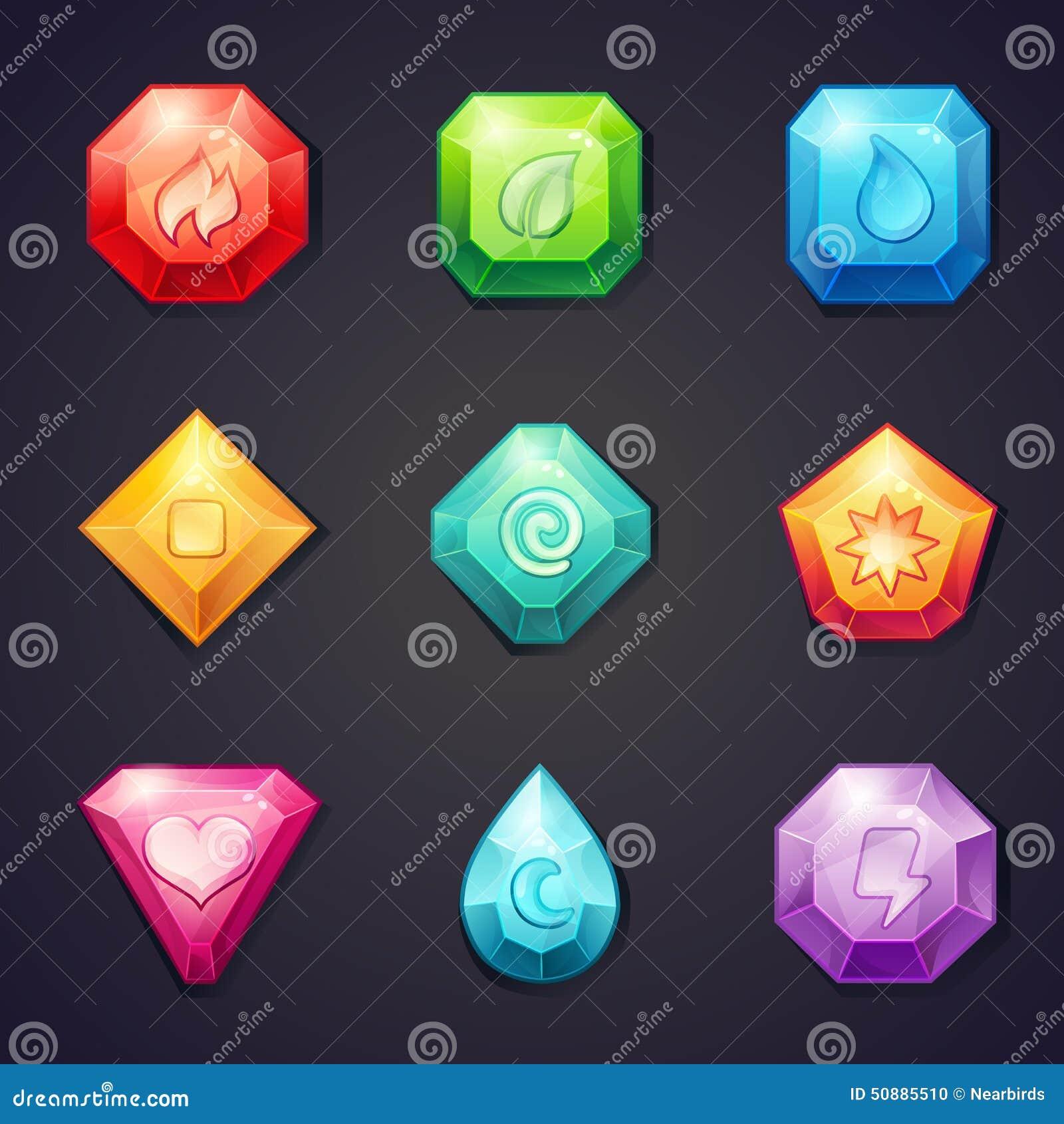 Set kreskówka barwił kamienie z różnym znaka elementem dla use w grą, trzy z rzędu