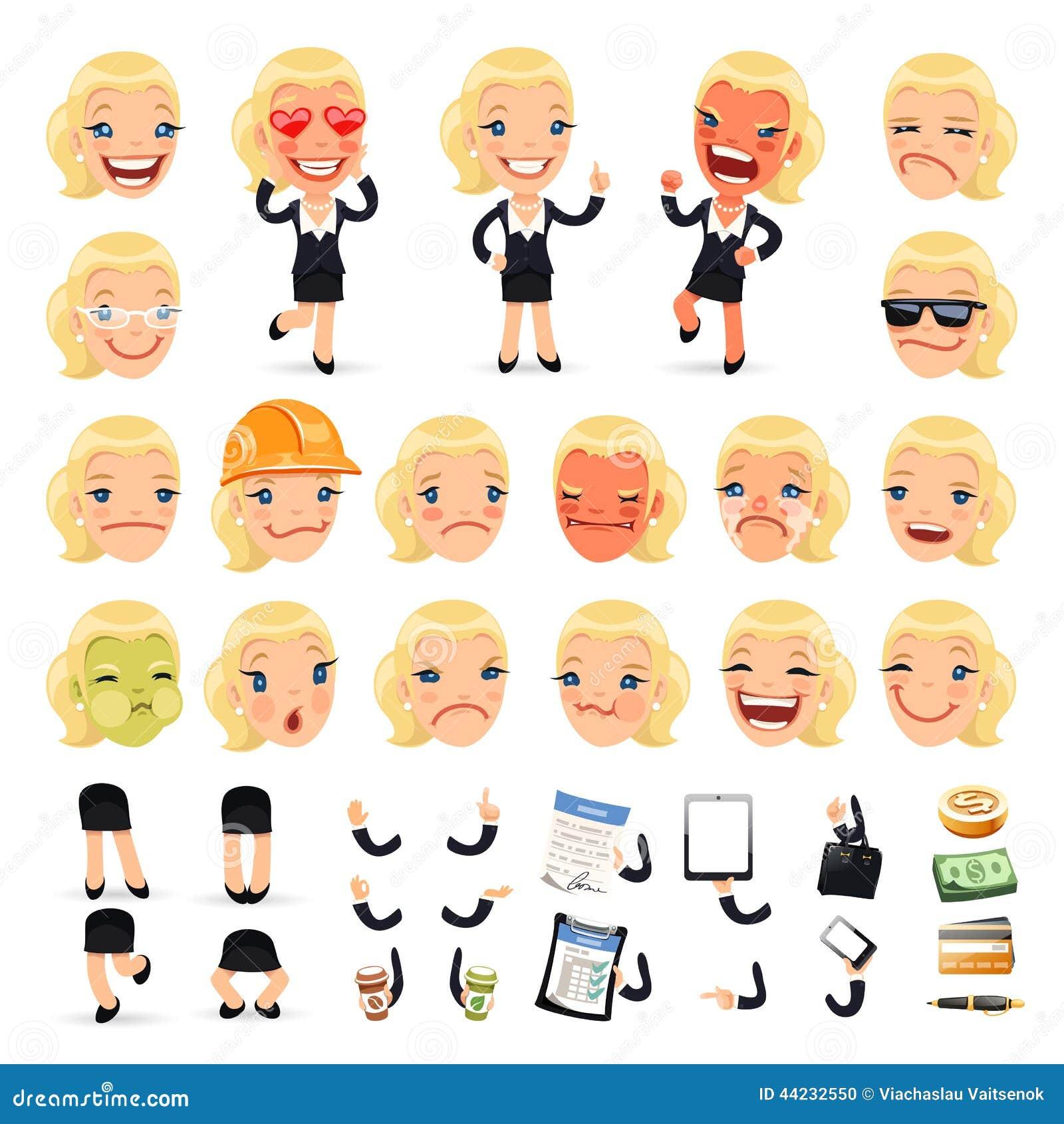 Set kreskówka bizneswomanu charakter dla Twój