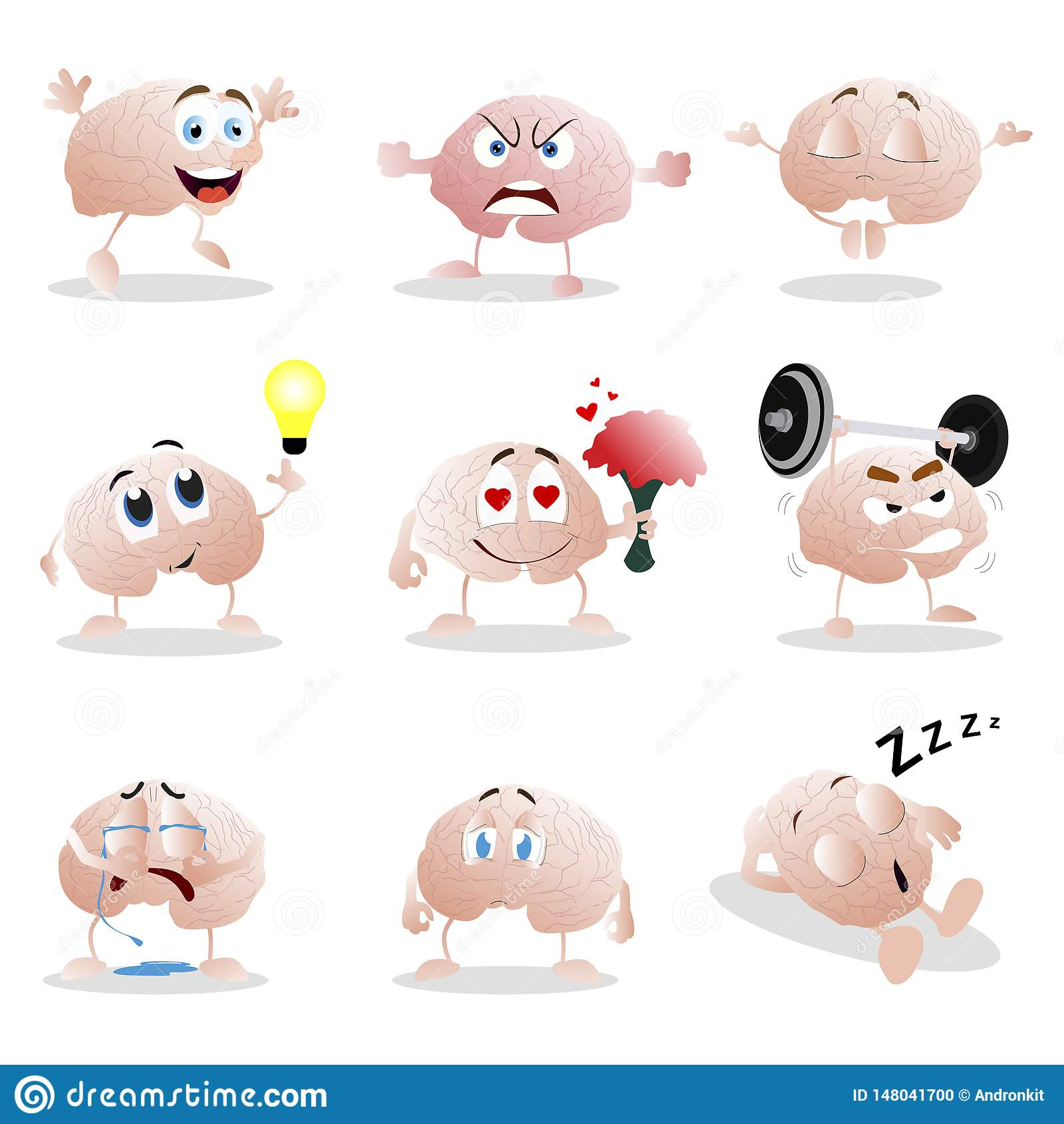 Set kreskówka mózg emocja Śmiesznej klamerki graficzni charaktery