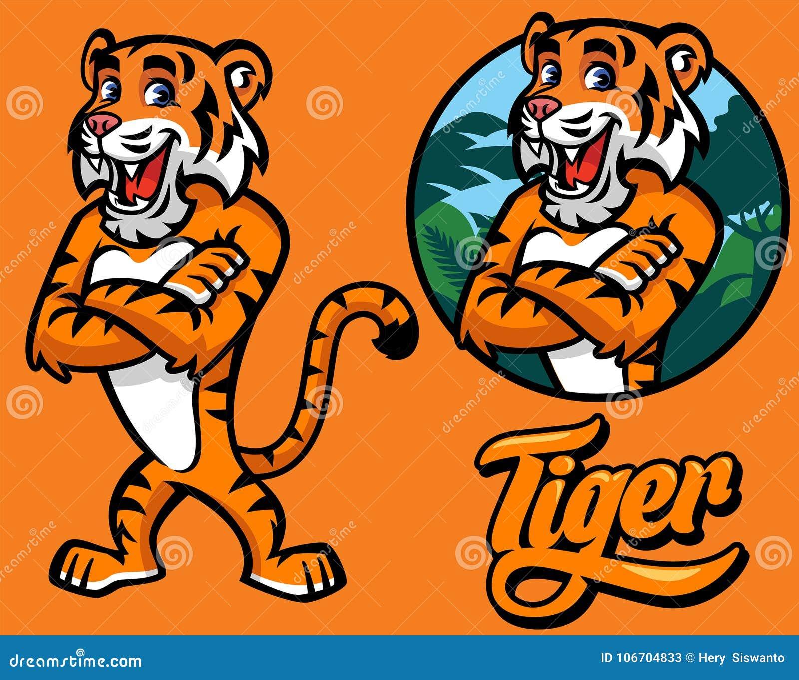 Set kreskówka tygrysa charakter