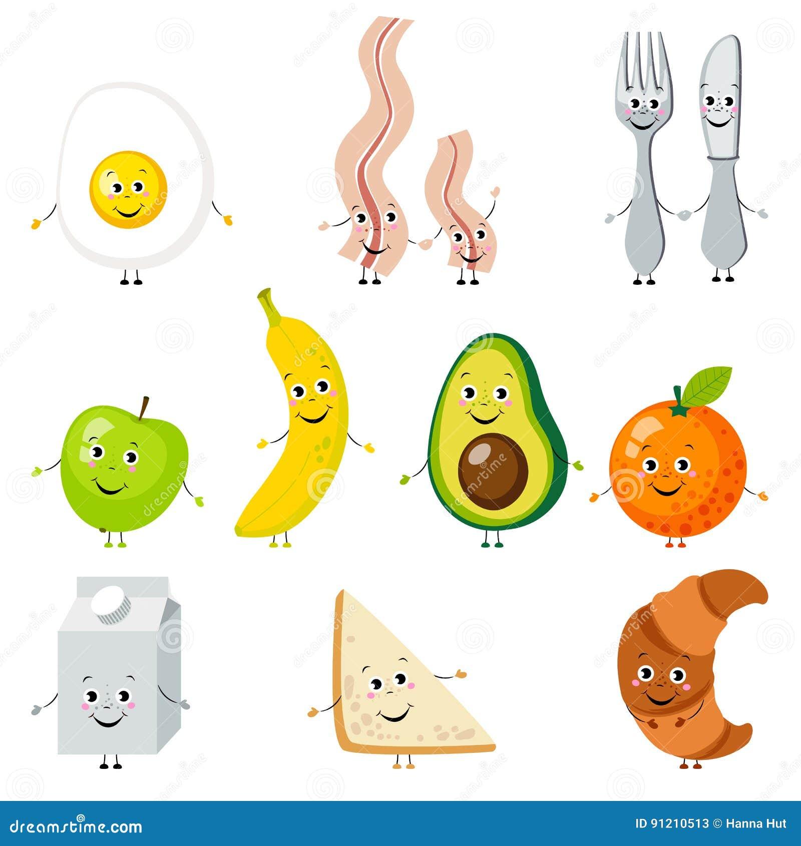 Set kreskówki jedzenie