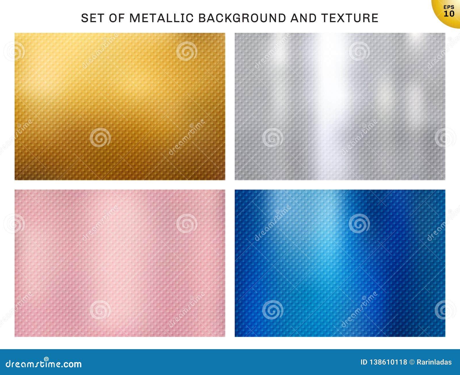 Set kruszcowy złoto, różowy złoto, srebro, błękitni metali kwadraty deseniuje teksturę i tło Złoty foliowy luksusu styl dla brosz