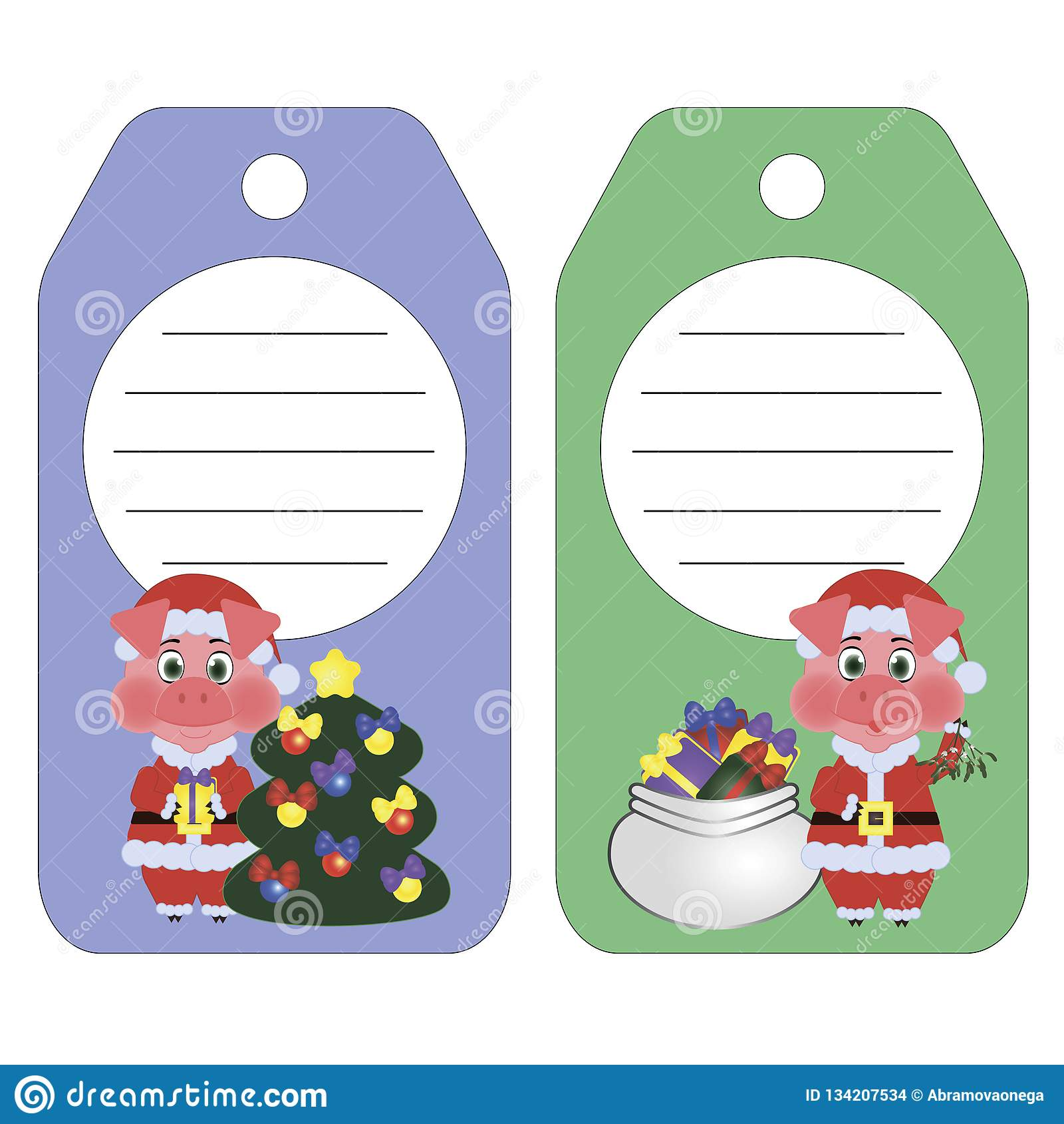 Set label illustrations of a pig the symbol of the 2019 New year