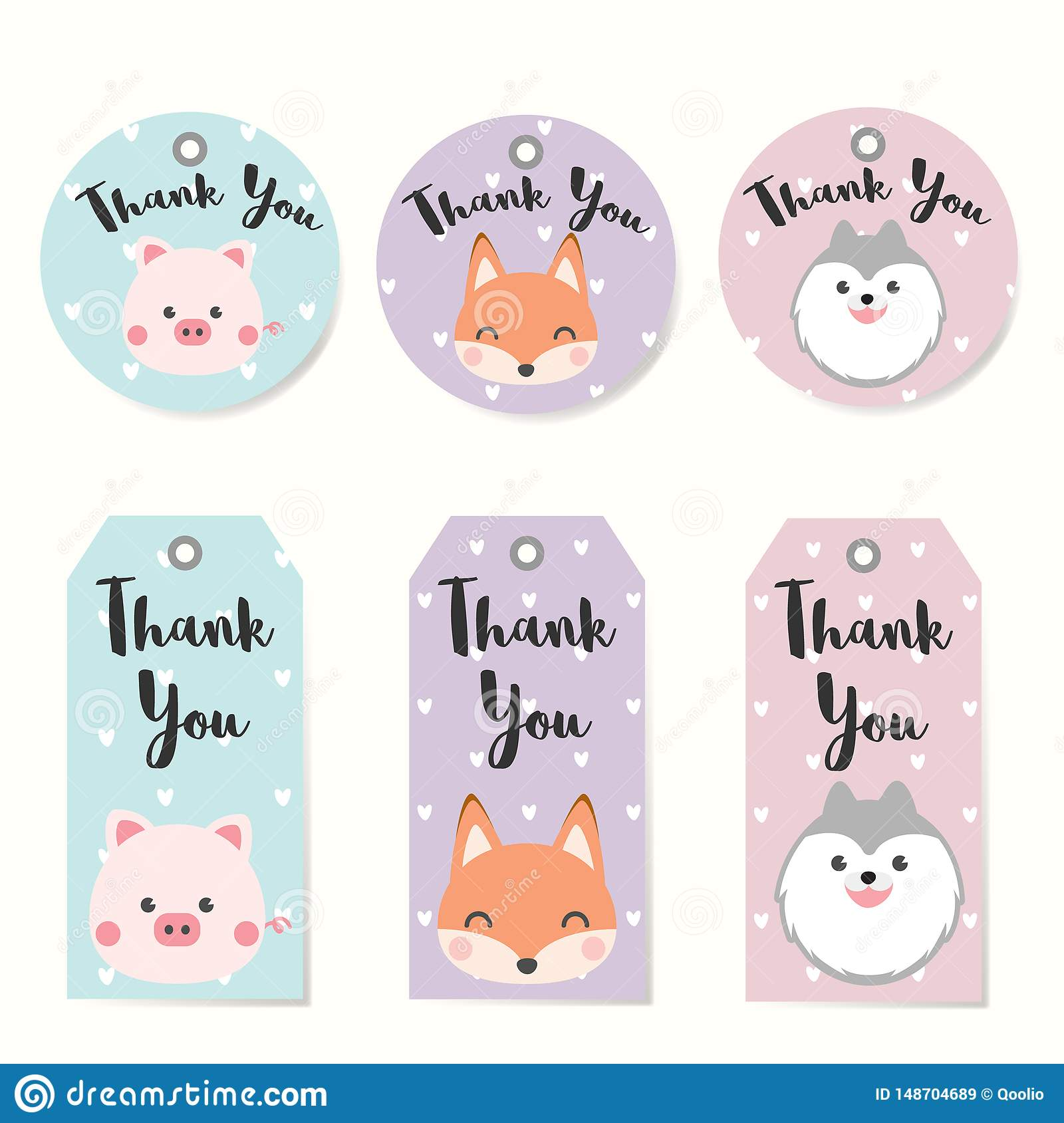 photograph about Thank You Printable Tag known as Preset Of Label Tags With Pets Individuality Structure. Thank On your own
